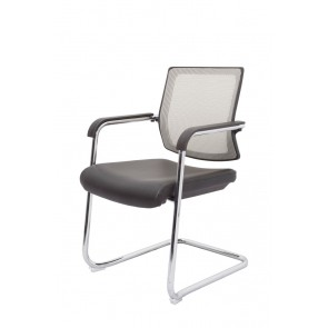Cantilever Visitors Mesh Office Chair - Chrome Frame - Silver