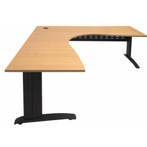 Rapid Span Corner Workstation Beech with black metal legs