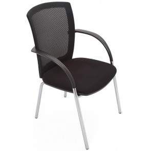 Lux 4 Leg Chrome Visitors Mesh Chair - Armrests